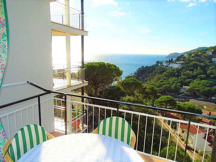 Two bedroom apartment with large terrace and fantastic views of Santa Cristina d'Aro, Costa Brava.
